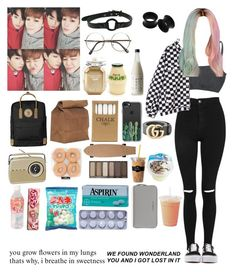 """""""Hanging out with Jimin and Jungkook"""" by vbril ❤ liked on Polyvore featuring Topshop, Vans, Fjällräven, Casetify, Jayson Home, Club Exx, Keurig, Victoria's Secret, ZeroUV and Gucci"""