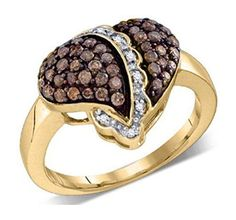 0.59 cttw 10k Yellow Gold Cognac Brown Diamond Heart Promise Engagement Ring