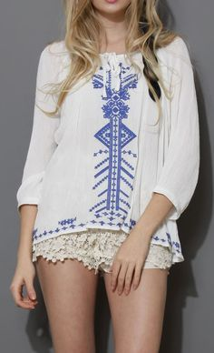 Boho Blue Stitch Embroidery Top