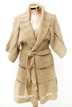CARDIGAN CHILE $150.- crochet in camel by Espiritu Folk. Chile, Knitwear, Folk, Wrap Dress, Collection, Dresses, Design, Fashion, Winter