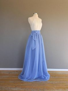 e25a0d40e40227 Two toned Chiffon Skirt, (resort blue over riviera sky) Bridesmaid skirt,  floor length, tea length, knee length empire