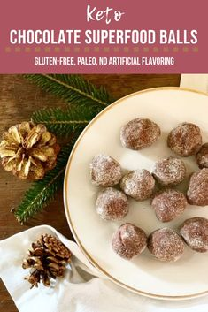 Keto Chocolate Superfood Balls! So easy & delicious! Gluten free and grain free; no artificial ingredients. Perfect low carb snack or dessert!