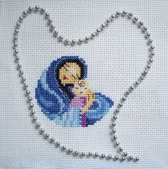 Cross Stitch Bird, Cross Stitching, Cross Stitch Patterns, Gata Marie, Blessed Mother Mary, Madonna, Diy And Crafts, Kids Rugs, Faith