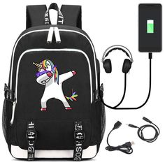 c67863e633cb Unicorn Pony Unisex USB Charging Port And Lock   Headphone Backpack