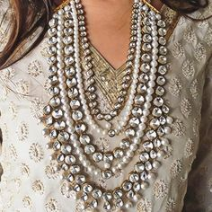 A White Indian ensemble: These pearly whites were our statement of the night #AaliyahNecklace  #Prerto #Fashion #Statement #Love #Trend #AboutALook #StyleTips #Jewelry #Necklace