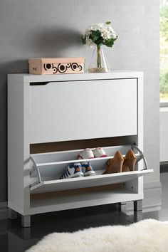 Simms Modern 2 Drawer Shoe Cabinet - White by Small Space Furniture Essentials on @HauteLook