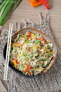 Spicy Treats: Spinach Capsicum Masala Fried Rice / Indian Style Fried Rice With Spinach & Capsicum