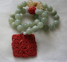 Cinnabar pendant w celadon jade beads necklace , beaded jewelry , jade jewelry , unique square red cinnabar & jade jewelry , unusual jewelry by CloudPineStudio on Etsy
