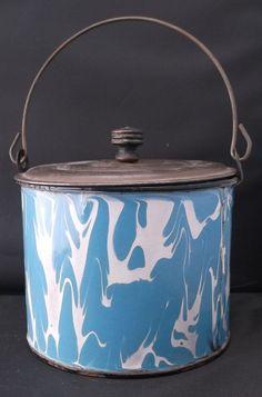 "Graniteware antique pail 6"" blue white swirl tin lid bail handle;enamelware"