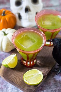 Sour Frankenstein Cocktails - Cucumber Margaritas