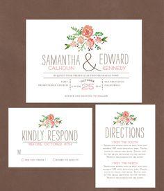 Watercolor Florals DIY Wedding Invitation by AffordableDIYWedding