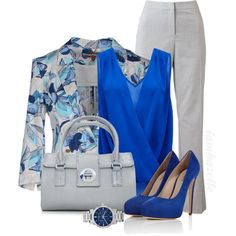 Office Chic: Blue and Gray, created by iamhazelle on Polyvore