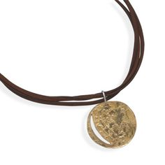 Textured Brass Pendant on High Grade Multi STrand Leather Necklace