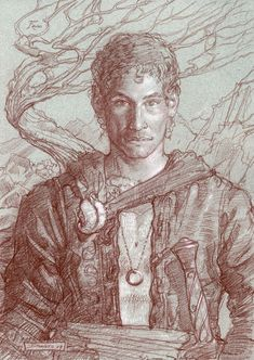 """Frodo""      10"" x 14"" colored pencil on toned paper  © 2007 Donato Giancola    private collection"