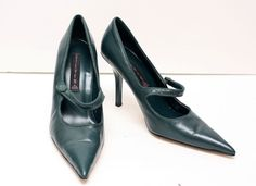 Steven Steve Madden Green Leather Mary Jane Pointed Toe Pumps Heels Shoes Sz 7.5…