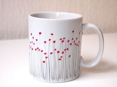 Handpainted poppy mug made of Limoges porcelain set by EMAtelier
