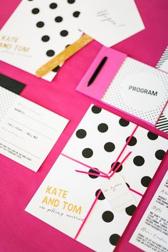 polka dot wedding invites // photo by Anneli Marinovich Photography,  stationery design by Golden Apple Designs // View more: http://ruffledblog.com/kate-spade-inspired-wedding-event/