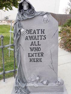 My take on a very popular Grim Reaper design. Halloween. Tombstones. Diy. Cemetery. Yard haunt. Graveyard.