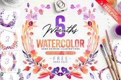 Free 6 Watercolor Wreaths (The Wedding Shop) – Pixelify