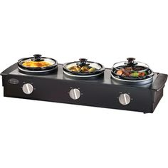 Nostalgia Electrics 2.5-Quart Triple Slow Cooker Buffet, Stainless/Black.....I love this when several making soups for ball game get togethers, family events, parties for sweet & sour meatballs, rotel dip with cheese and sausage, smokey links in BBQ sauce...or place your side dishes in it for the holidays..