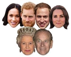 Royal Wedding 2018 Face Masks - 6 Pack inc Harry & Meghan & The Queen. Free UK delivery from Starstills.