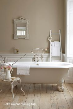 Mandy suggested this with the Ludlow tiles, not sure if she meant for the walls, tongue and groove or both. Little Greene Bathroom - Rolling Fog - Compton Smith11