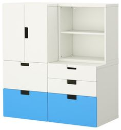 Stuva Storage Combination With Doors/Drawers, Blue/White - modern - toy storage - IKEA