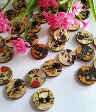 Mix 50 pcs 20 MM DIY pintados à mão de costura feltro flor botões de madeira para embarcações bonito mais Design barato de boa qualidade(China (Mainland))