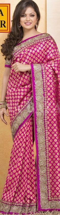 Kundan work on Banarasi Saree. original pin by @webjournal