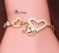 18K Gold Plated pulseira feminina Crystal Heart Charm Bracelets Women Lady Fashion Wedding Dress Jewelry Gift SMS - F A S H I O N http://www.sms.hr/products/18k-gold-plated-pulseira-feminina-crystal-heart-charm-bracelets-women-lady-fashion-wedding-dress-jewelry-gift/ US $0.76
