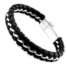 Cheap magnetic clasp bracelet, Buy Quality steel bracelet directly from China stainless steel bracelet Suppliers: Unique Designer Stainless Steel Bracelets & Bangles Mens Gift Black Leather Knitted Magnetic Clasp Bracelet Men Jewelry Knit Bracelet, Bracelet Clasps, Bangle Bracelets, Bracelet Men, Leather Bracelets, Trendy Bracelets, Braided Bracelets, Bracelets For Men, Black Bracelets
