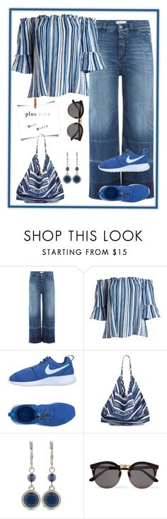 """""""Two tone denim - Plus size"""" by maryfromnewengland ❤ liked on Polyvore featuring Closed, Derek Heart, NIKE, La Blanca, Nine West, Illesteva, plussize, contestentry, plussizeoutfit and plus size clothing"""