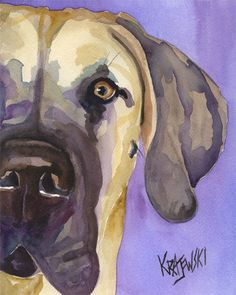Great Dane Art Print of Original Watercolor by dogartstudio