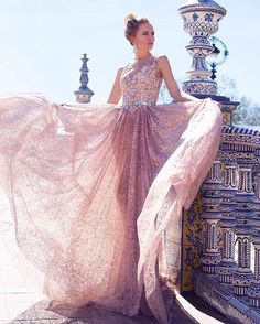 This beautiful blush creation by Oksana Mukha would be the perfect #gown for an…