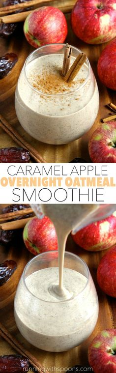 Caramel Apple Overnight Oatmeal Smoothie -- smooth, creamy, and sure to keep you satisfied for hours! This comforting fall-inspired smoothie makes a perfect healthy breakfast or snack! || runningwithspoons... #vegan #fall #snack #breakfast