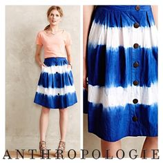 """Shibori Stripe Dip Dye Boho Skirt by WHIT Two Petite herself, Whitney Pozgay, the designer behind WHIT Two, understands the challenges of dressing a smaller frame, nailing the delicate balance between proportion of silhouette and scale of print. Pozgay presents this shibori striped skirt made exclusively for Anthropologie. By WHIT Two Sz 0P (petite) Petite exclusive No two are exactly alike Front pockets Button closure 14"""" Waist 26"""" Length Skirt in new condition with no obvious wear or…"""