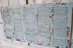 Large vintage wooden shutter plantation style hand painted distressed seaglass blue-green and white home decor Anita Spero on Wanelo