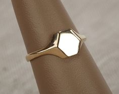 Hexagon Signet Ring  14k Gold by rachelsalome on Etsy, $350.00