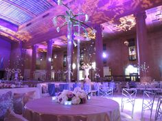 Grand wedding with purple lighting + Chameleon Chairs ~ #wedding #lighting #EventuresInc