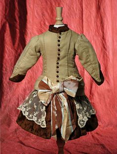 "Lot: ANTIQUE FROCK FOR FRENCH BEBE.  6 ½"" shoulder width, 15, Lot Number: 0032, Starting Bid: $200, Auctioneer: Frasher's Doll Auction, Auction: Dolls & Kewpies ""Smile Awhile"" Auction, Date: February 23rd, 2014 EST"