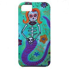 Dia de los Muertos MERMAID AQUAMARINE iPhone 5 CASES  Day of the Dead Painting