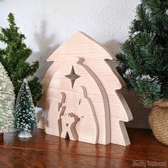 Come on over and learn how to make this Wooden Nativity Set as a puzzle with our free printable scroll saw pattern. For Christmas decor! {Reality Daydream}