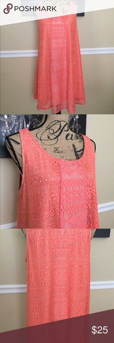 Xhilaration Lace Dress This is a beautiful dress from Xhilaration size XXL. It is a beautiful orange color & has lace throughout the dress. Has a slip so it is not see thru. It is flowy & has different lace pattern all around. This dress is in excellent condition. Body: 100% poly; Contrast:57% cotton/43%nylon; Lining: 100% poly Xhilaration Dresses