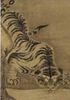 (No197) 京都国立博物館「狩野山楽・山雪」 鑑賞記 その1 Japanese Drawings, Japanese Art, Korean Art, Asian Art, Nature Paintings, Animal Paintings, Japanese Tiger Tattoo, Asian Tigers, Japanese Animals