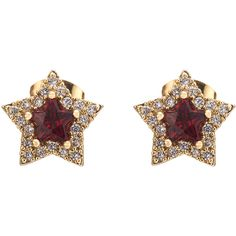 Red Crystal Embellished Star Earrings ($17) ❤ liked on Polyvore featuring jewelry, earrings, star earrings, red jewelry, red jewellery, red earrings and red star earrings
