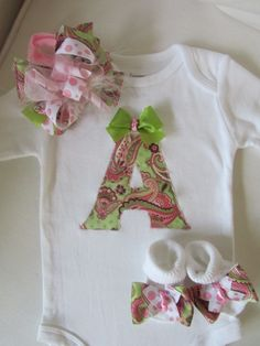 Baby Girl's Monogrammed Onesie Gift Set/ Newborn Baby Going Home Set/ Girl's Monogram Clothing Gift Set (Pink Paisley and Sage Green). $38.00, via Etsy.