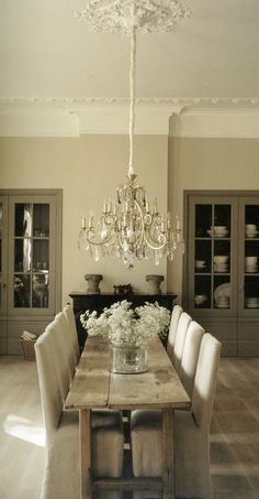 Lovely Chic Country Vintage Dining Room. I love this, but I would like a wider table.