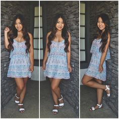 Today's summer outfit! Casual dress from Urban Outfitters paired with white Steve Madden sandals. #fashion #style #blogger #fashionblogger #ootd #japanese #chinese