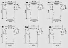 DESENHO DE T-SHIRT COM VÁRIOS TAMANHOS A t-shirt básica é talvez uma das peças de roupa de maior consumo. Todos nós temos várias no guarda-fatos estampadas