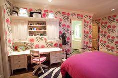 Traditional Kids Bedroom with interior wallpaper, Hardwood floors, nuLOOM…